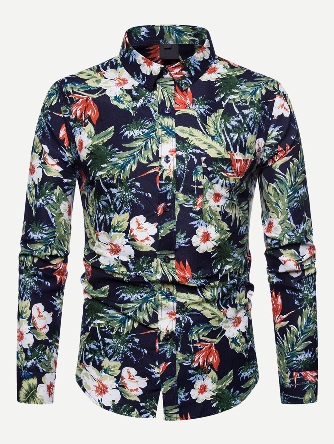 Купить Мужская ситцевая футболка и кривой подол, null, SheIn