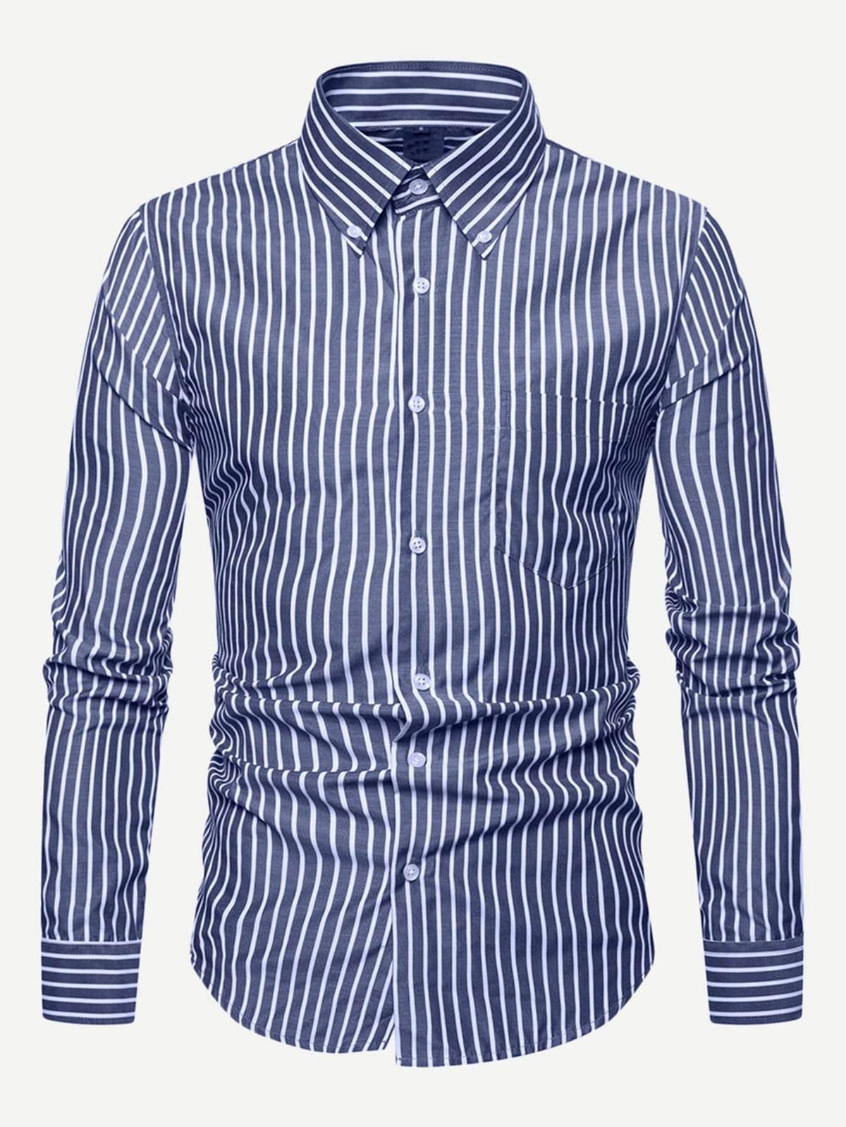 男人 條紋 曲線 下擺 襯衫