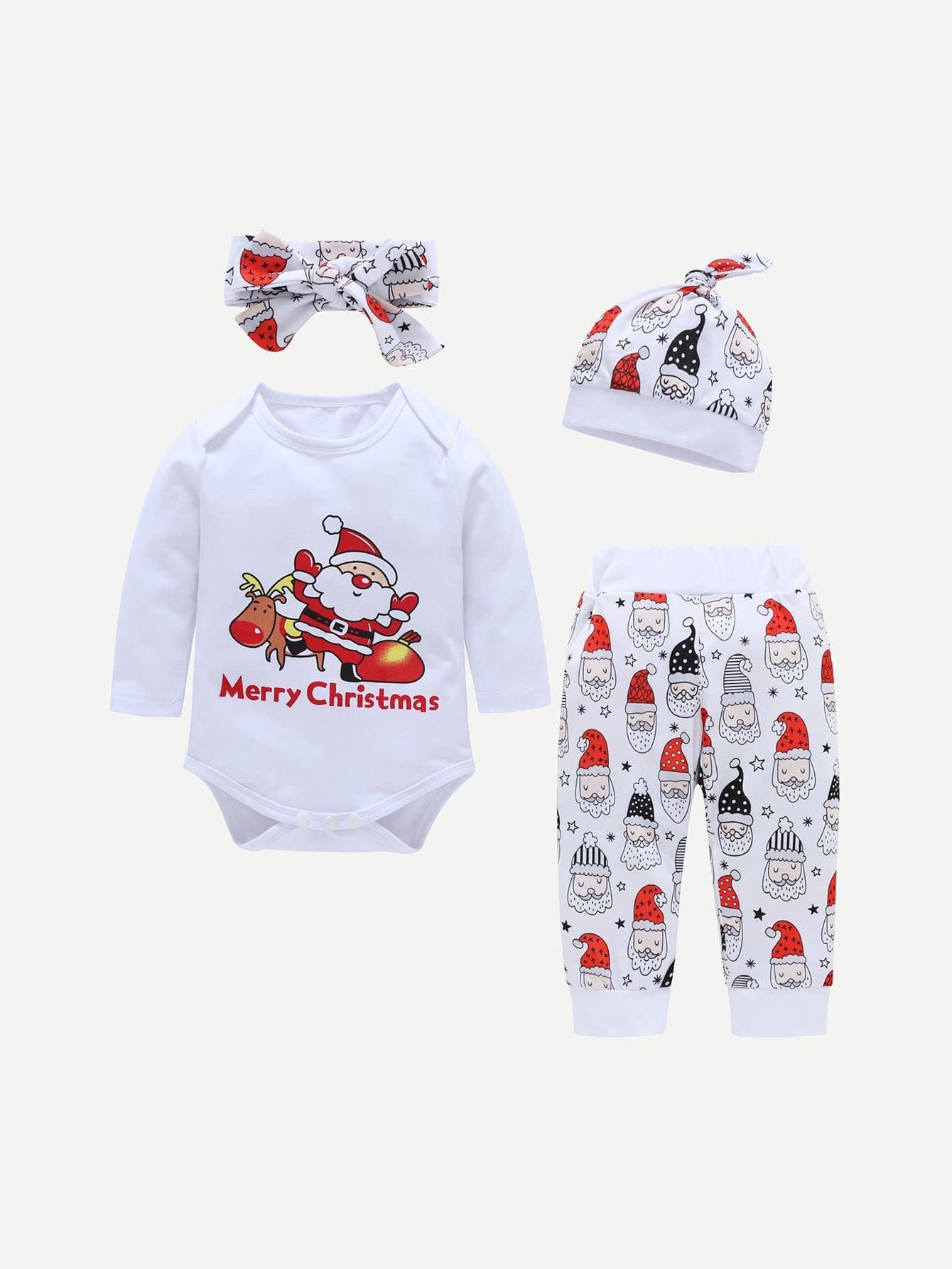 Купить Комбинезон с принтом рождества и брюки и шлапка и бандана для плода мужского рода, null, SheIn
