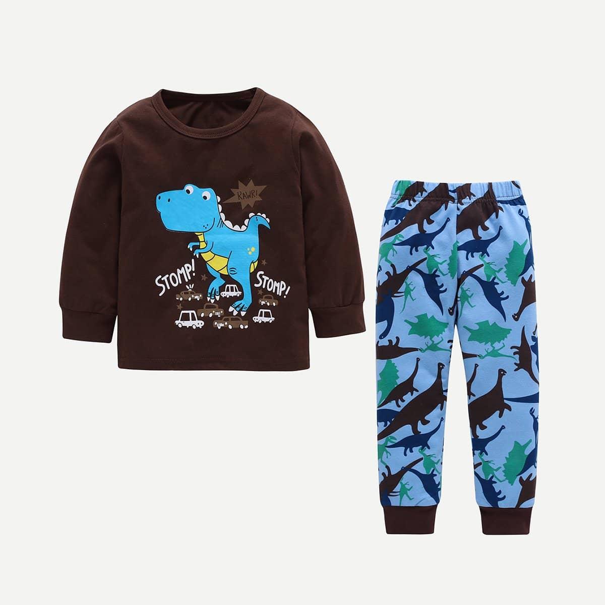 Блуза с принтом динозавра и букв и брюки для плода мужского рода от SHEIN