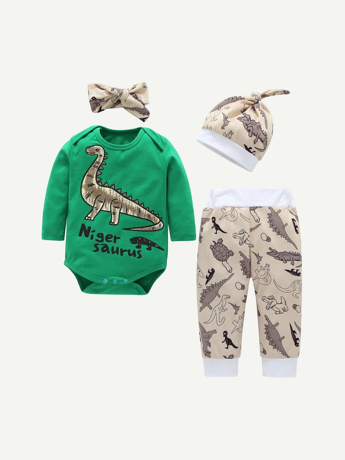 Купить Комбинезон с принтом динозавра и брюки и шляпка и бандана для плода мужского рода, null, SheIn