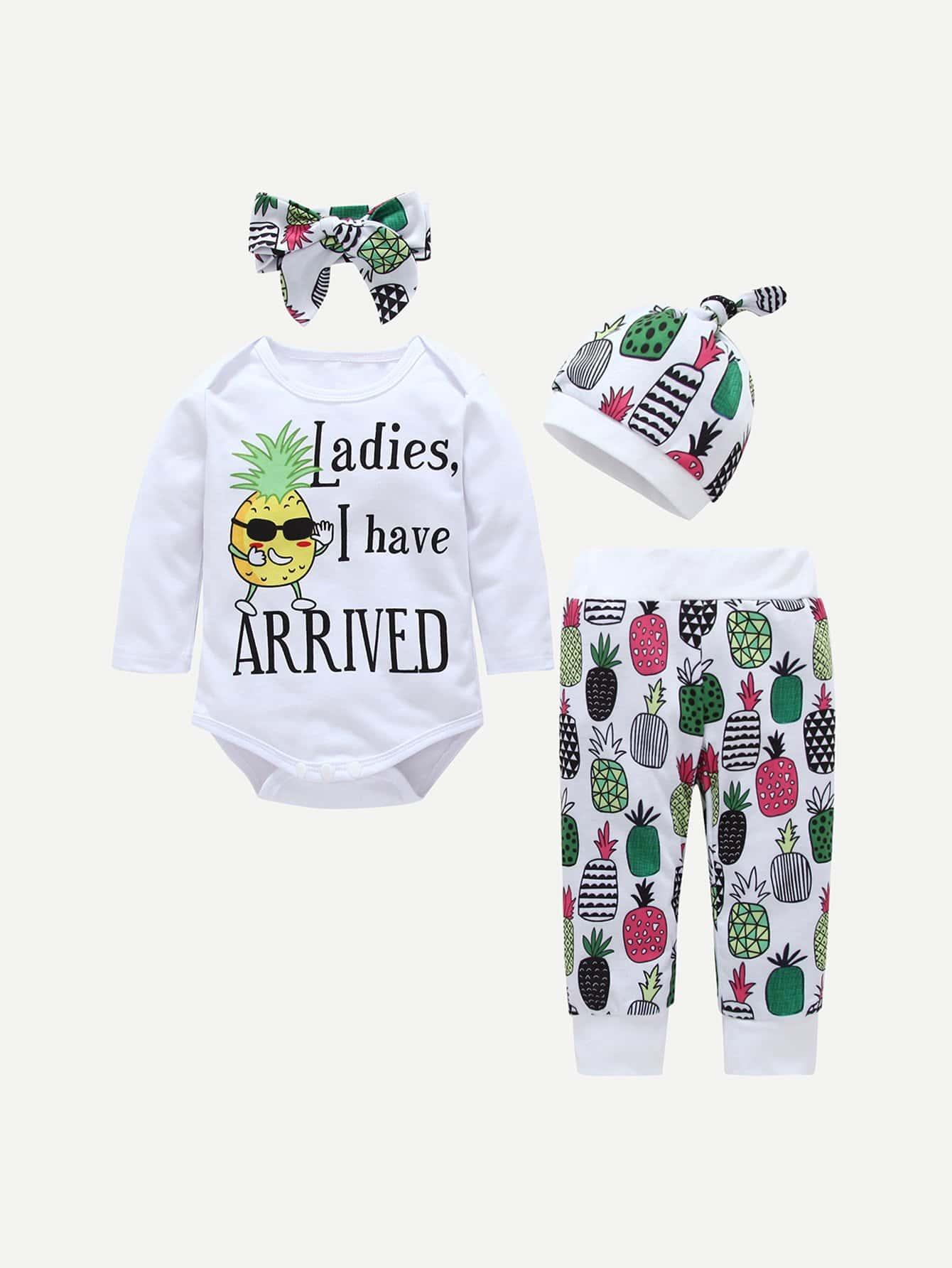 Купить Комбинезон с принтом ананасов и брюки и шляпка и бандана для плода мужского рода, null, SheIn