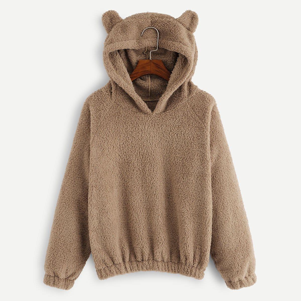 Teddy hoodie met fantasie kap