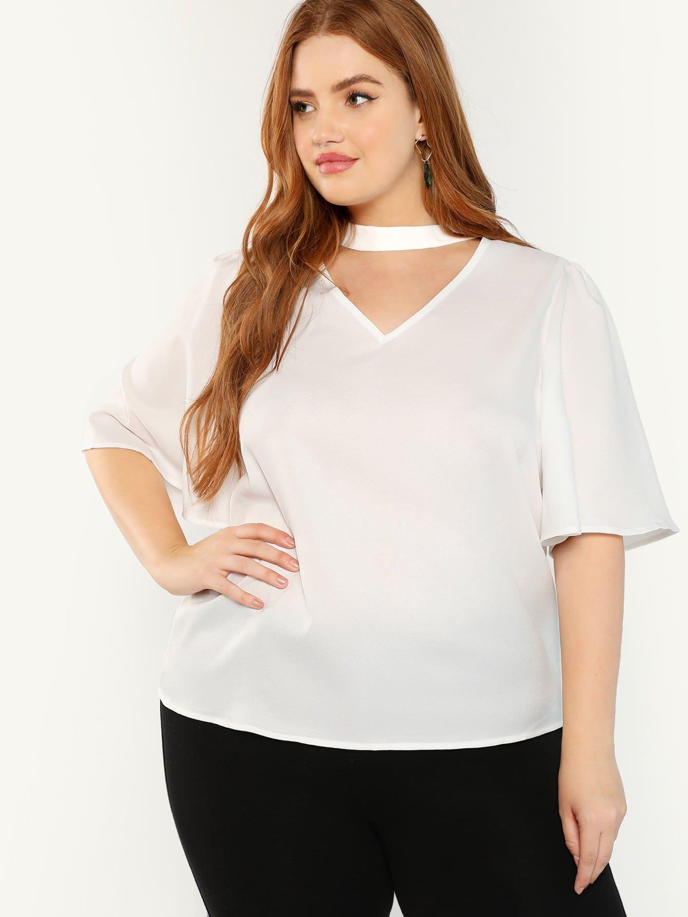 Купить Плюс размеры чокер шея блузка с оборками рукавами, Bree Kish, SheIn
