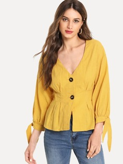 Knot Cuff Button Up Blouse