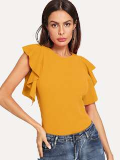 Ruffle Armhole Solid Top