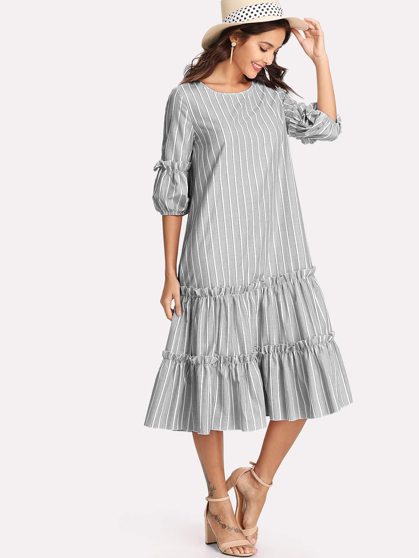 Купить Платье с слоистыми оборками и с фонарными рукавами, Giulia, SheIn