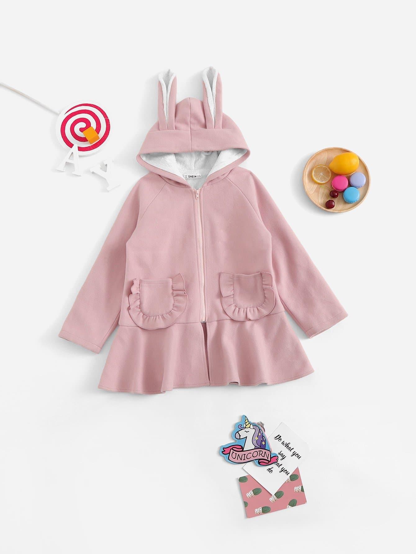 Купить Ветровка с капюшоном и с укранием уха кролика и с застёжкой молния для девочки, null, SheIn