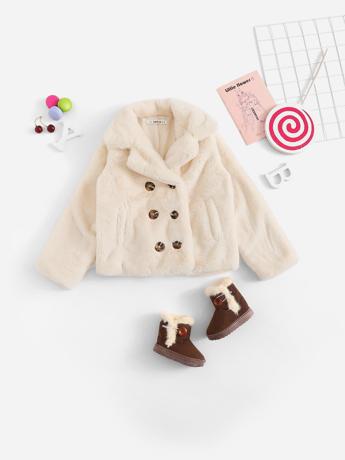 Для девочик Флисовая куртка на пуговицах, null, SheIn  - купить со скидкой