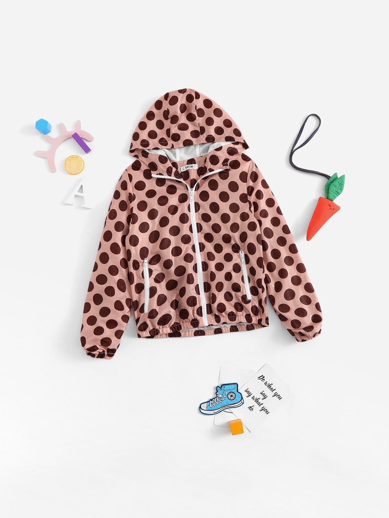 Купить Ветровка с капюшоном и с застёжкой молния и с рисунками точки польки для девочки, null, SheIn
