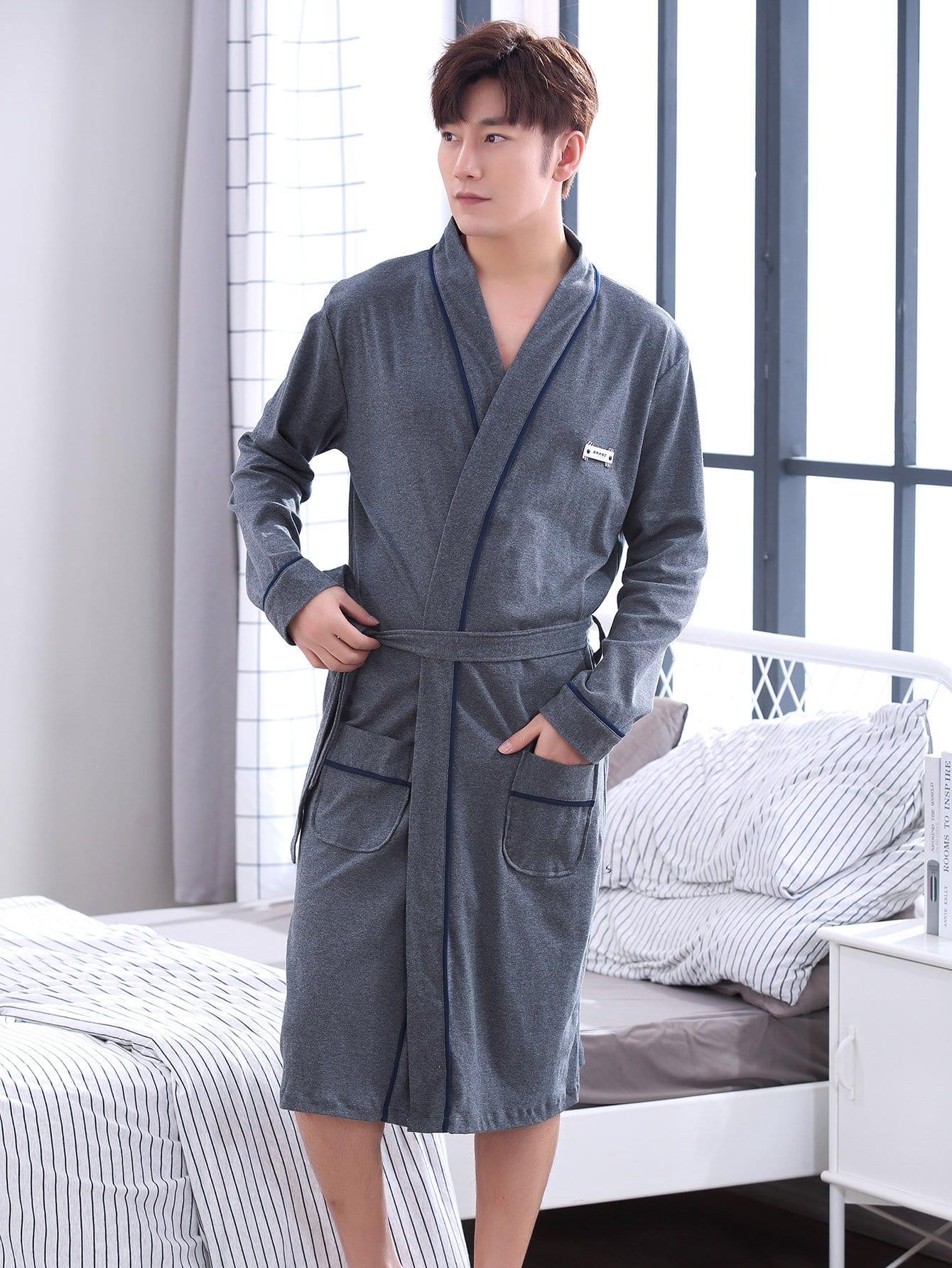 Купить Мужикий домашний халат с поясом и контрастными обшивками, null, SheIn