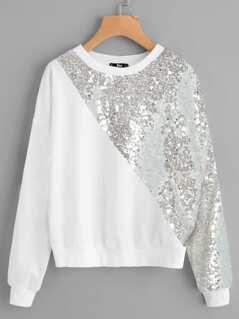 Contrast Sequin Sweatshirt