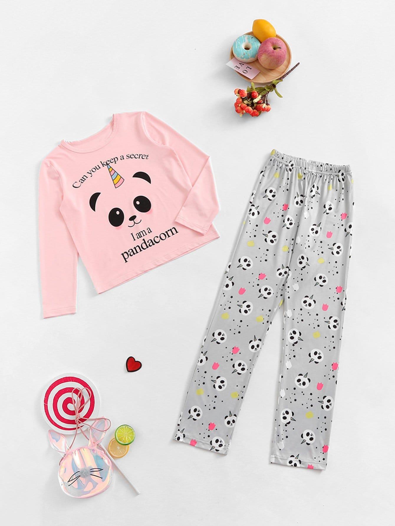 Комплект пижамы с принтом панды и букв для девочек от SheIn