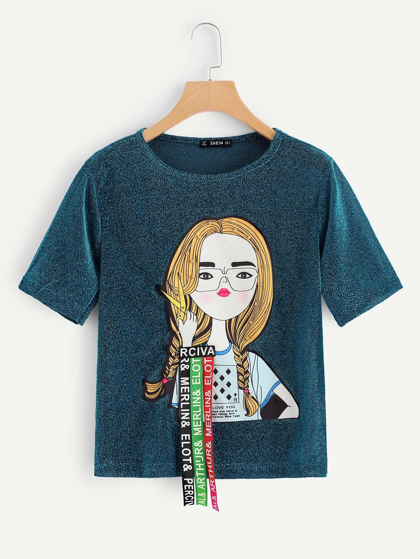 Купить Блестящая футболка с рисунками цифры и с украшением заклёпки, null, SheIn