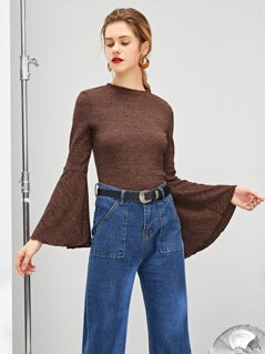 Lettuce Edge Trim Trumpet Sleeve Textured Top