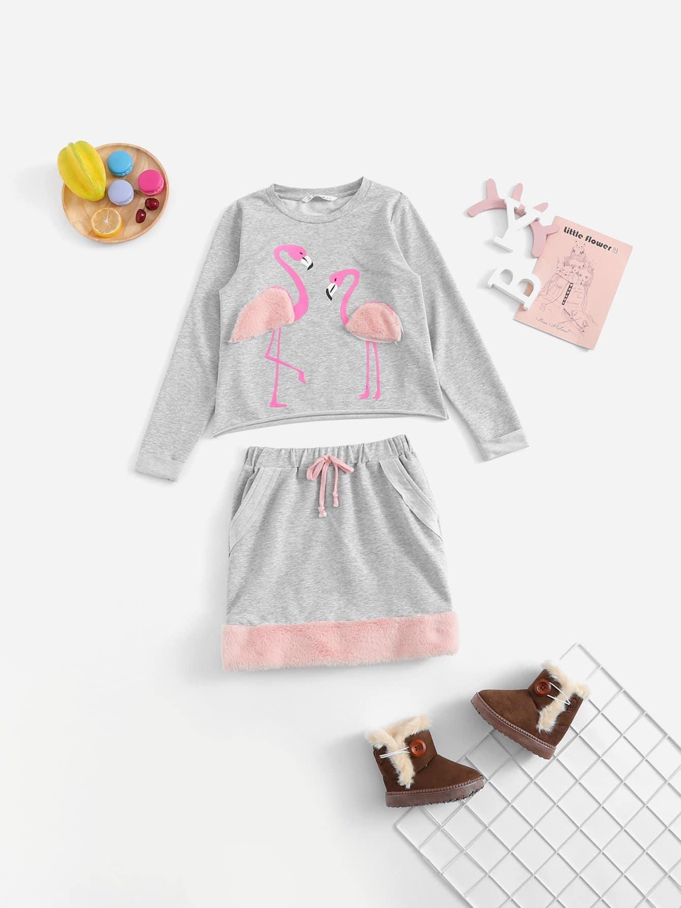 Купить Блузка из искусственных кож и с рисунками фламинго и юбка для девочки, null, SheIn