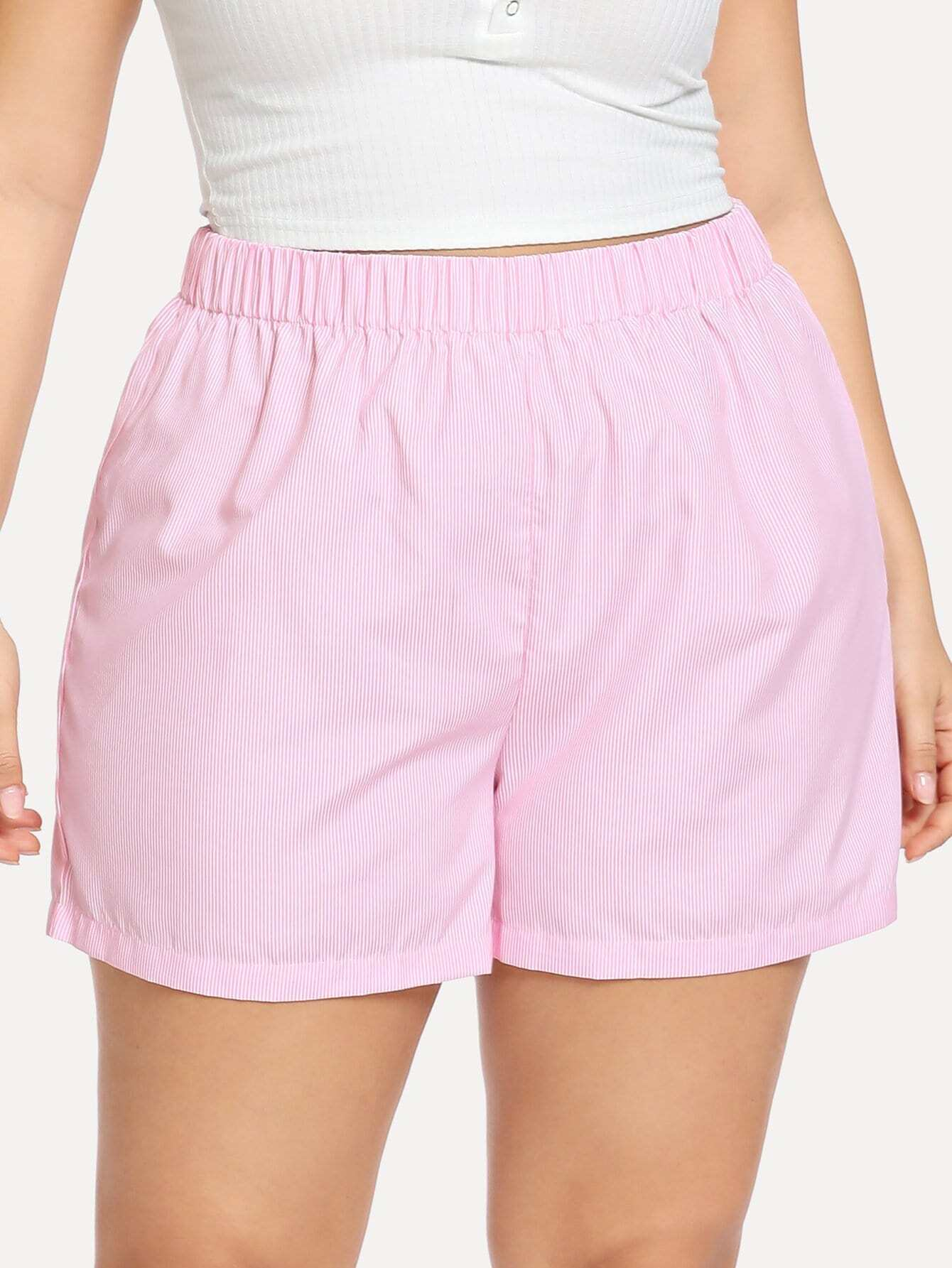 Купить Плюс размеры шорты в полоску с эластичной талией, Franziska, SheIn