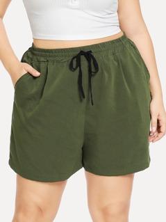 Plus Drawstring Waist Slant Pocket Shorts
