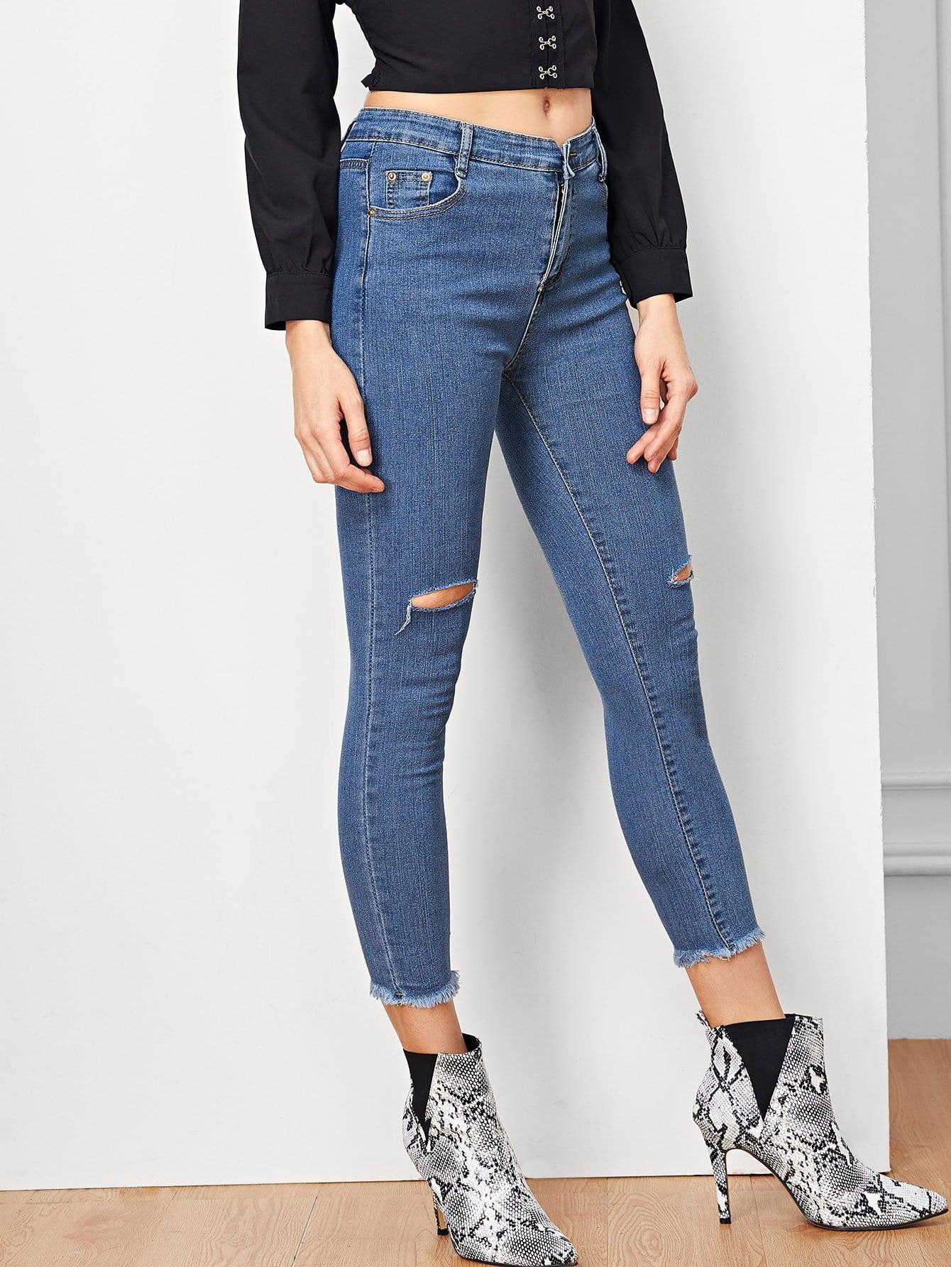 Купить Простые джинсовые кроп-брюки, Masha, SheIn