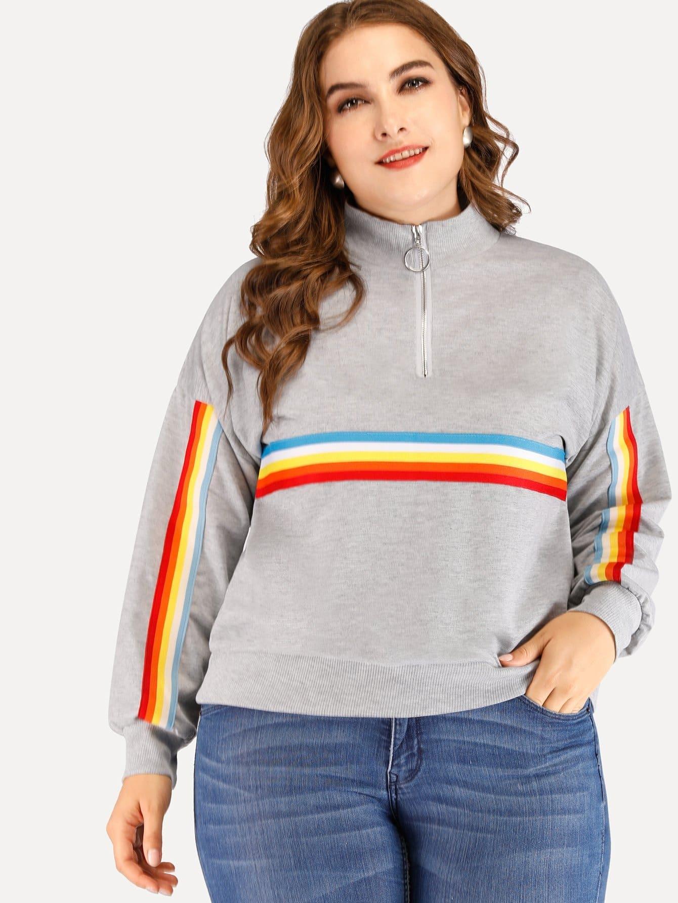 Купить Большой полосатый свитшот с застёжкой молния и стоячим воротником, Franziska, SheIn