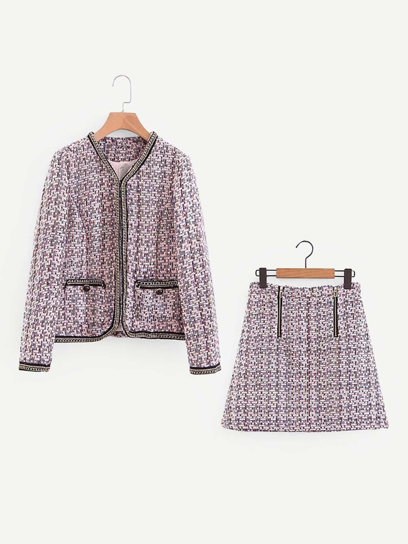 Купить Пальто из твида с контрастными оторочками и юбка, null, SheIn
