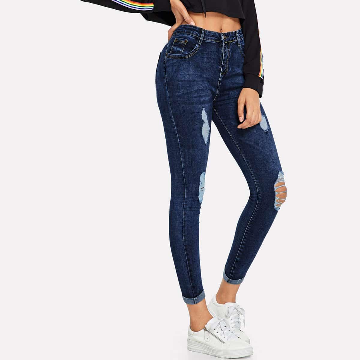 Blauw Casual Vlak jeans Knoop
