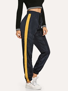 Drawstring Waist Contrast Tape Pants