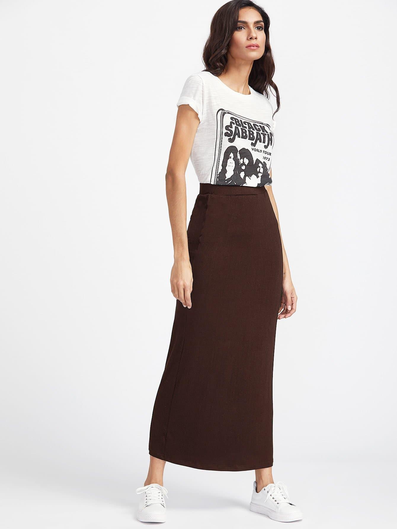 Купить Твердая длинная юбка с эластичной талией, Lais, SheIn