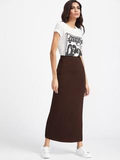 Elastic Waist Longline Solid Skirt