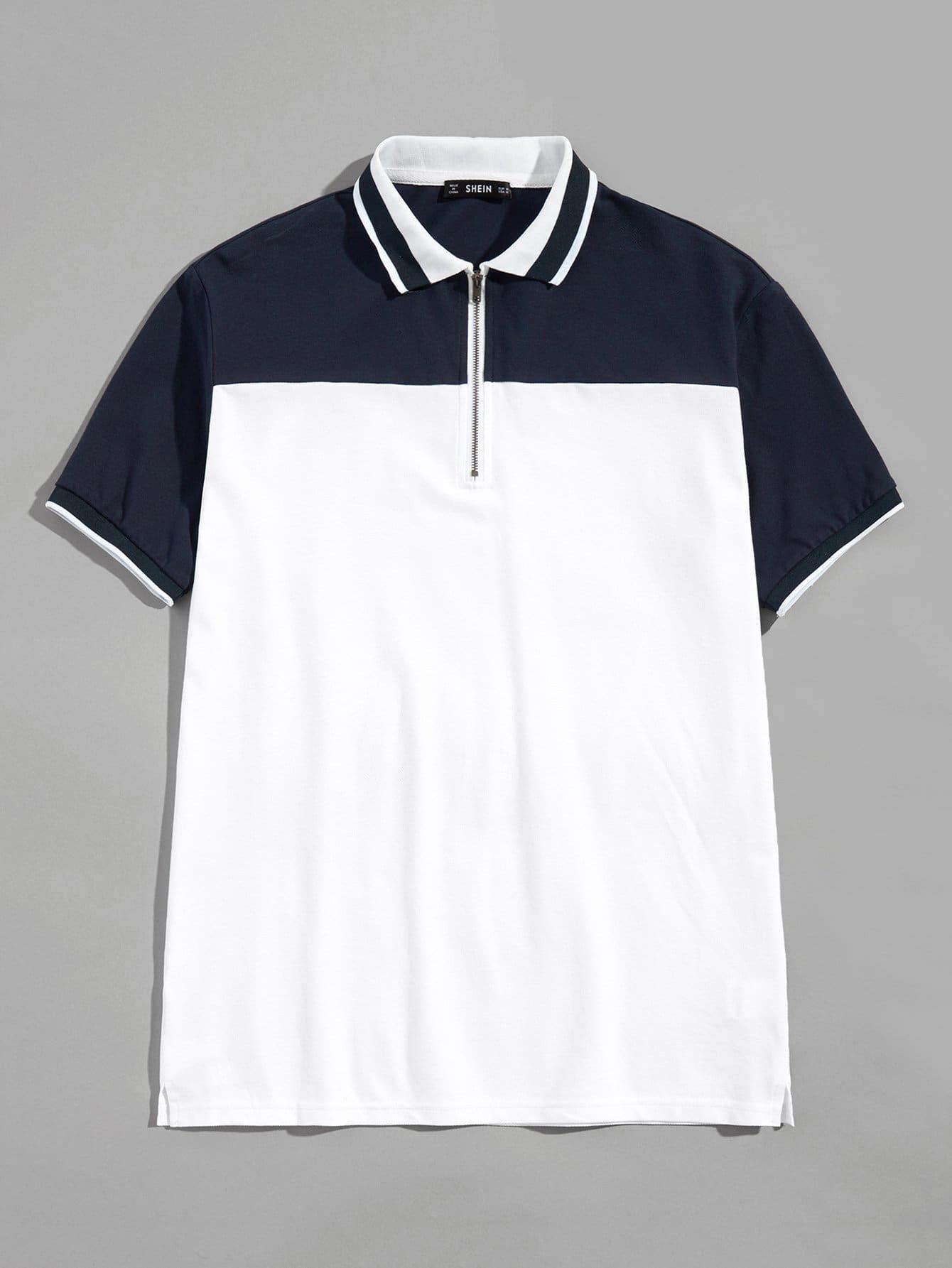 Купить Для мужчин Рубашка поло на молнии, null, SheIn