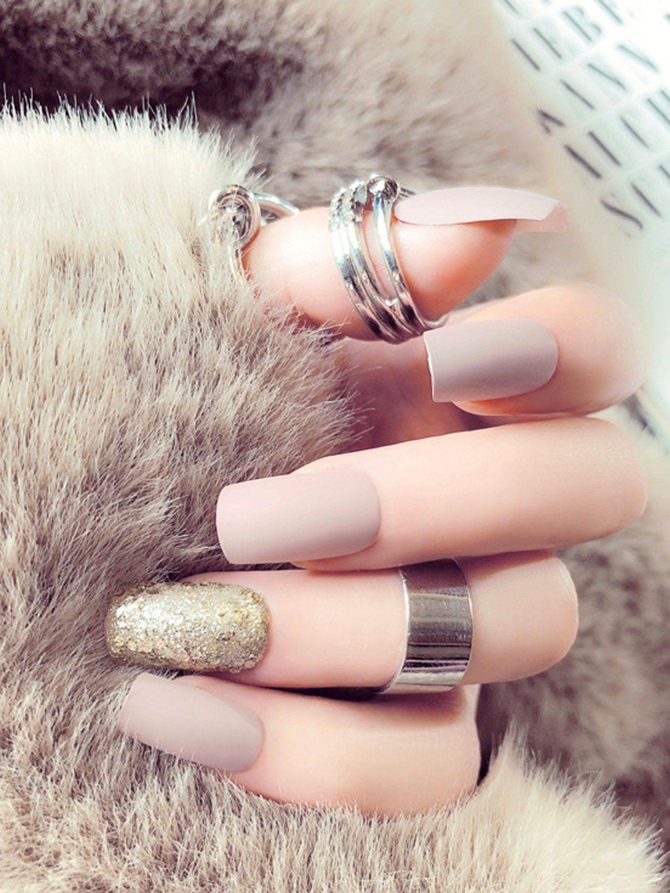 Купить Комплект простых и блестящих поддельных ногтей 25 шт, null, SheIn