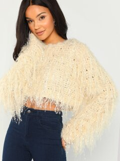 Allover Fringe Detail Knit Crop Sweater