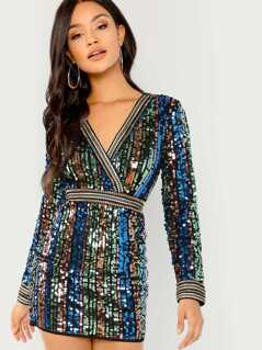 V-Neck Sequined Long Sleeve Mini Dress