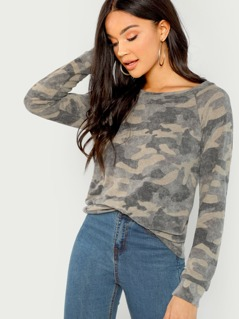 Brushed Camo Print Long Sleeve Top