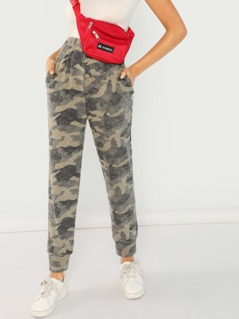 Brushed Camo Print Jogger Pants