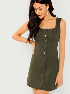 Sleeveless Button Front Mini Dress