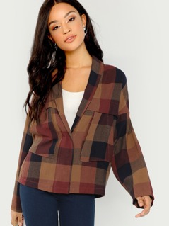 Shawl Collar Plaid Jacket
