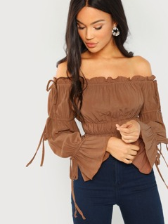 Off The Shoulder Peasant Long Sleeve Blouse
