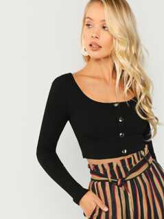 Button Front Rib Knit Crop Long Sleeve Top