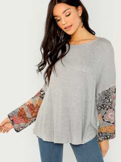 Printed Long Sleeve Waffle Knit Top