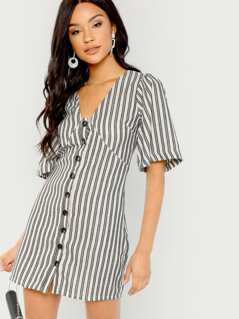 Striped Button Front V-Neck Short Sleeve Dress