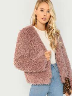 Shaggy Faux Fur Teddy Coat