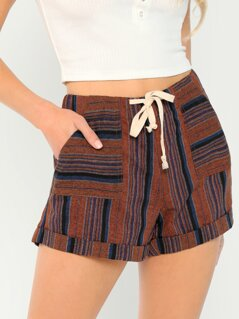 Elastic Waist Striped Lounge Shorts