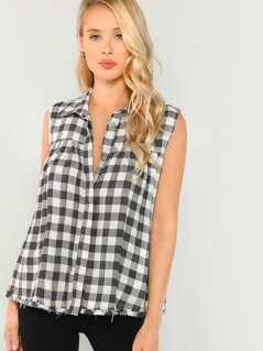 Button Front Sleeveless Plaid Tank