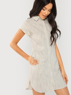 Short Sleeve Button Front Striped Mini Dress