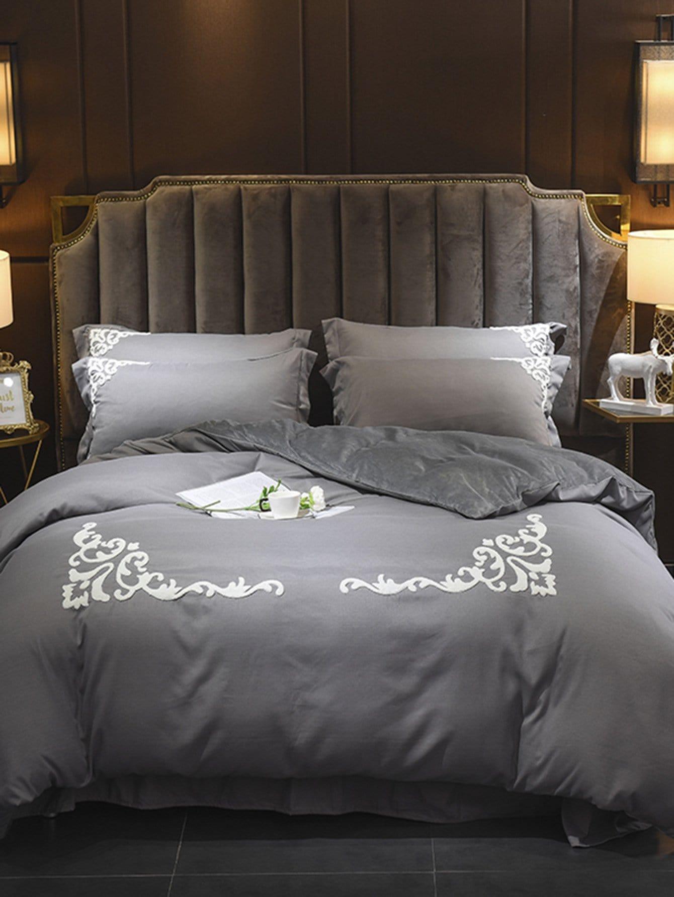 Купить Комплект простого постельного белья с вышивкой, null, SheIn
