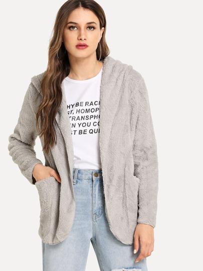 SheIn / Open Front Hooded Teddy Coat