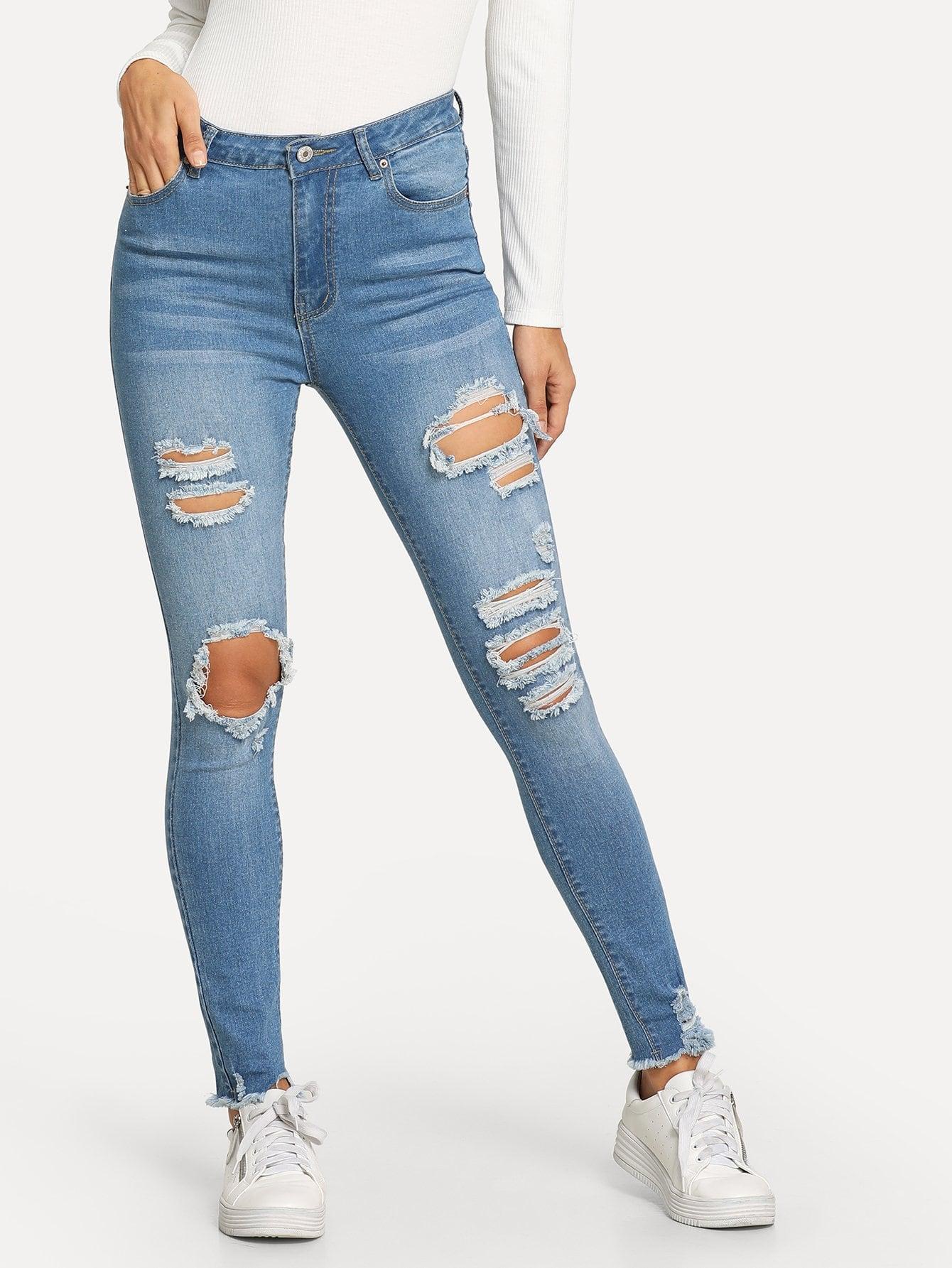 Купить Рваные джинсы с небработанным краем, Juliana, SheIn