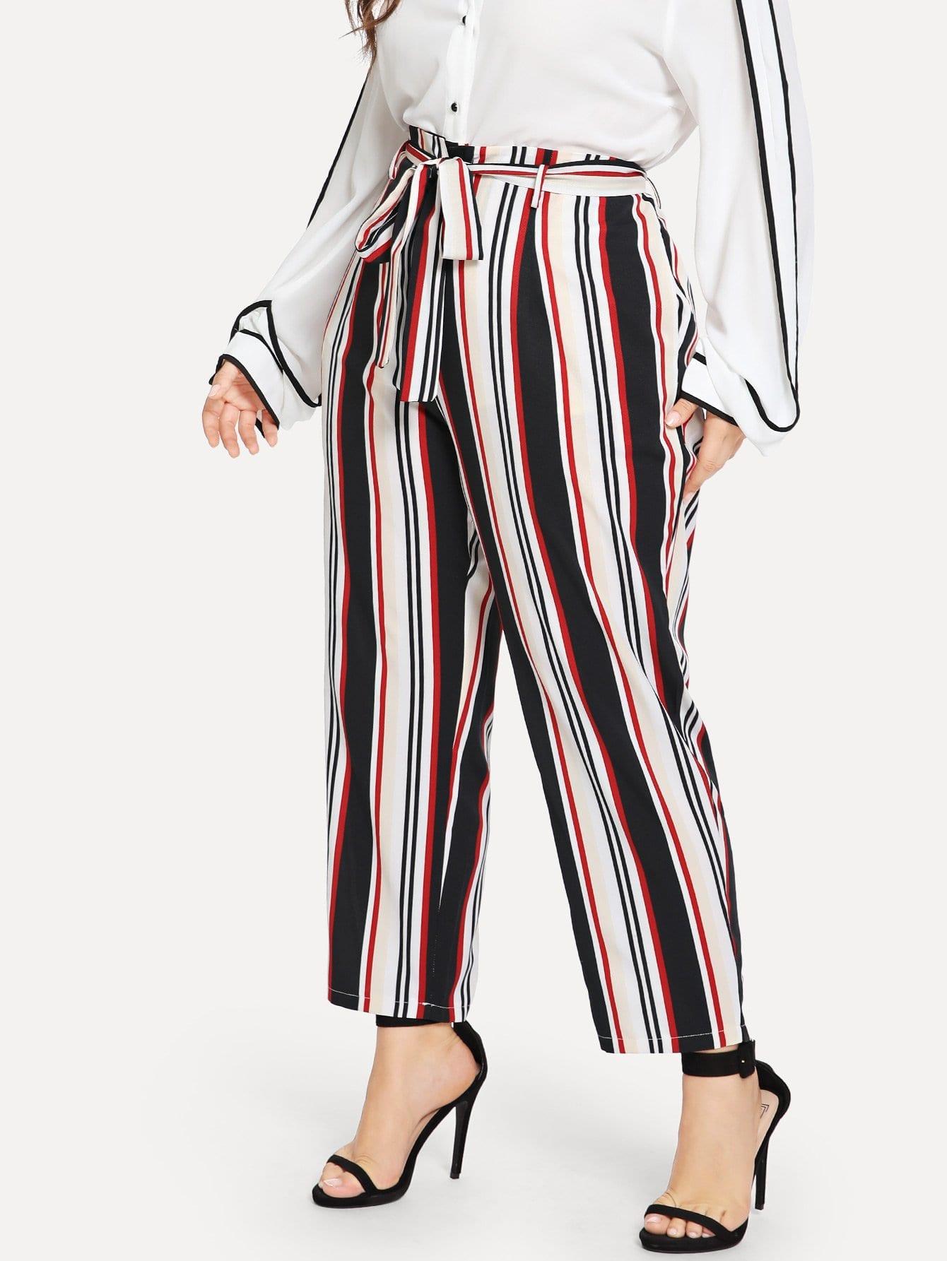 Купить Большие полосатые брюки с поясом, Franziska, SheIn