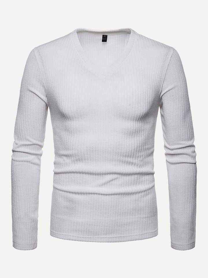 Купить Для мужчин твердая футболка с v-образным вырезом, null, SheIn